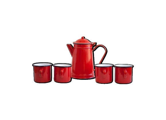 Théière et 4 tasses émaillées rouge