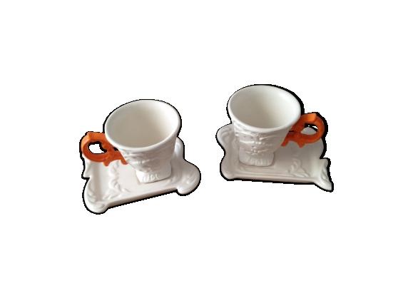 Lot de 2 tasses blanches à anses orange