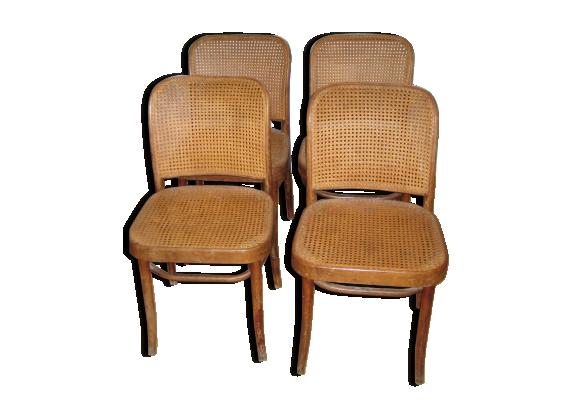 suite de 4 chaises bistrot cannage et bois tourn bois mat riau marron dans son jus. Black Bedroom Furniture Sets. Home Design Ideas