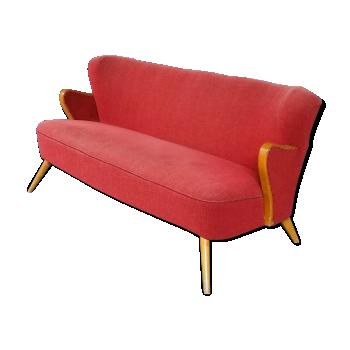 Sofa cocktail scandinave danois année 50 60 wing rouge d'époque