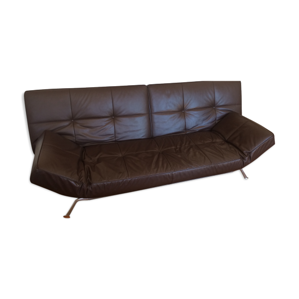 Canap convertible smala cinna cuir brun fonc cuir for Cinna canape cuir