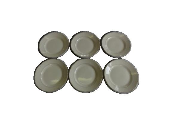 Lot de 6 assiettes à dessert en porcelaine Sarreguemines