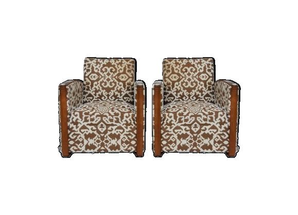 Paire de fauteuils club en laine motifs géométriques Art déco 1930 par Auguste Vallin