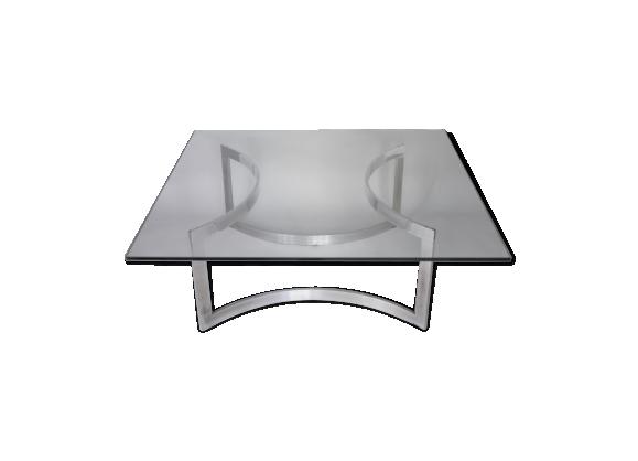 Table basse éditée par Dassas, piètement en acier chromé et dalle de verre épais, France, 1963