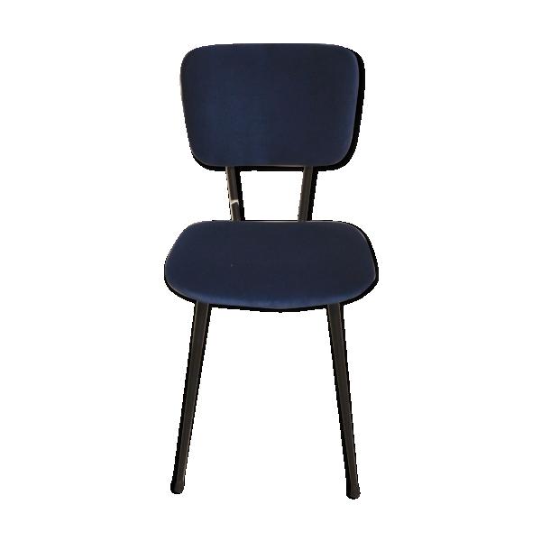 chaise ann es 60 retapiss e en velours m tal bleu bon tat vintage. Black Bedroom Furniture Sets. Home Design Ideas