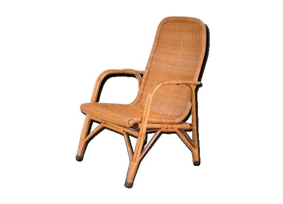 fauteuil haut dossier en osier par dirk van sliedrecht pour gebroeders jonkers rotin et. Black Bedroom Furniture Sets. Home Design Ideas