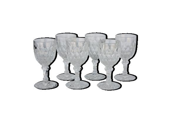 Série de 6 verres à vin de Bordeaux en cristal de Baccarat modèle Juvisy