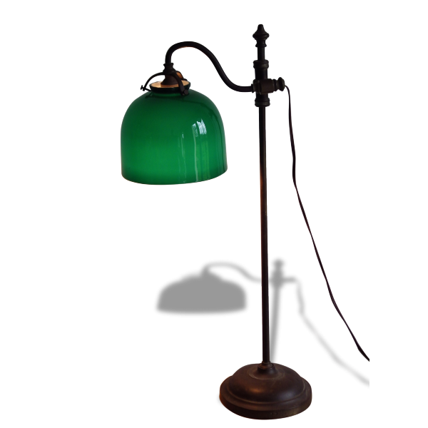 lampe de bureau classique avec globe en opaline verte. Black Bedroom Furniture Sets. Home Design Ideas