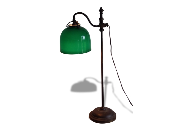 lampe de bureau classique avec globe en opaline verte opaline multicolore dans son jus. Black Bedroom Furniture Sets. Home Design Ideas