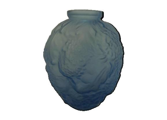 Vase art déco, vase boule , verre bleu motif floral