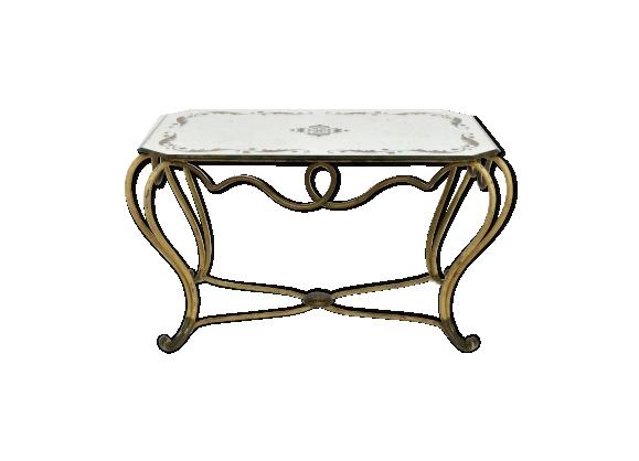 Table basse néoclassique fer forgé et plateau miroir 1940