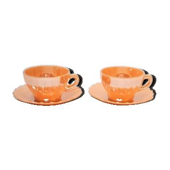 Tasses en verre de lait irisées pêche , café Français , tasse à café , tasses à thé , vintage