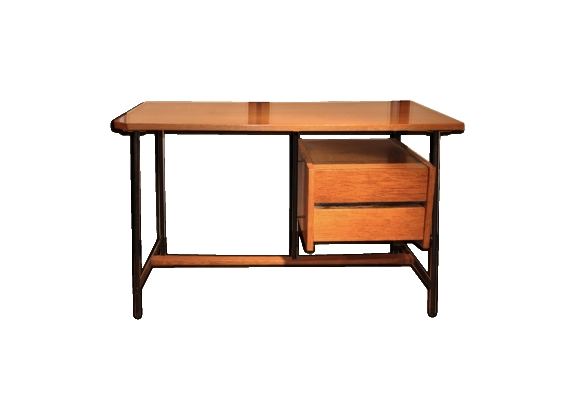 bureau vintage en bois 1950s le fait main. Black Bedroom Furniture Sets. Home Design Ideas