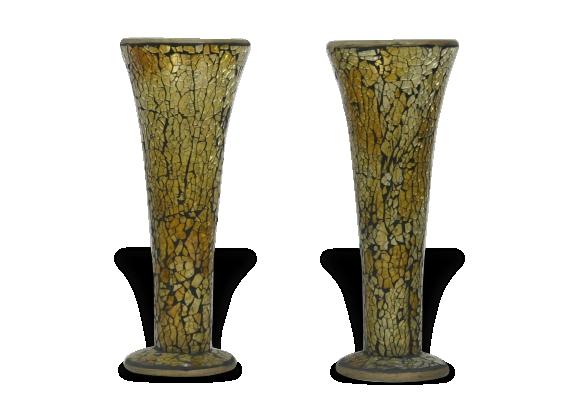 Paire de vase en mosaïque de verre