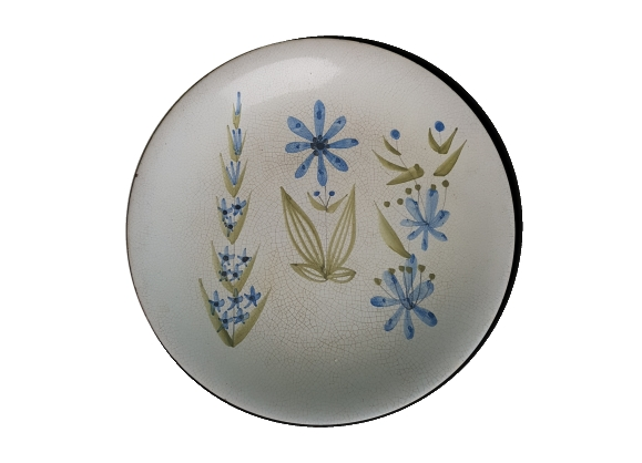 Assiette en céramique Roger Capron Vallauris décor de fleurs stylisés