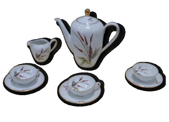 Service a café en porcelaine, motifs épis de blés vintage 1960