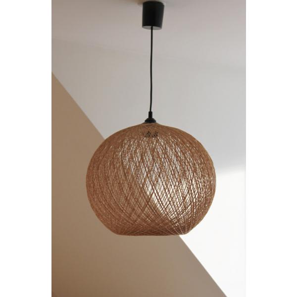 Lampe lustre suspension abat jour paille tress e vintage for Plafonnier osier