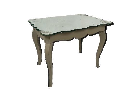 Table basse de style Louis XV en bois laqué gris