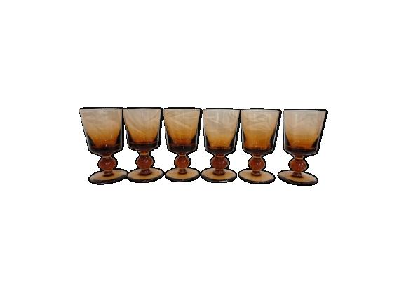 Lot de 6 verres à pied vintage