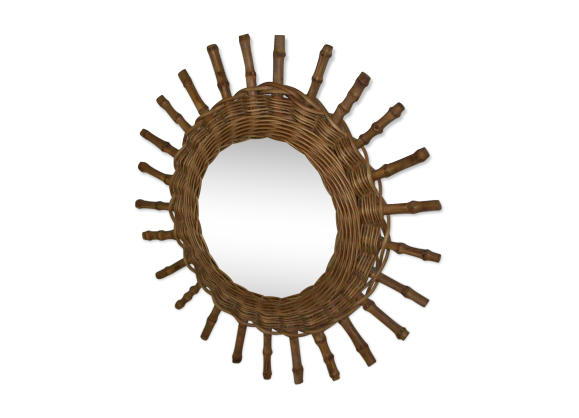 Miroir soleil rotin et osier bois couleur bon tat for Miroir soleil osier