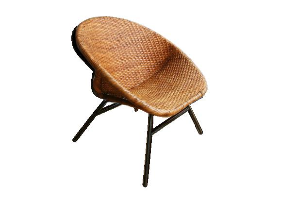 fauteuil corbeille en rotin 1960 rotin et osier marron bon tat vintage. Black Bedroom Furniture Sets. Home Design Ideas