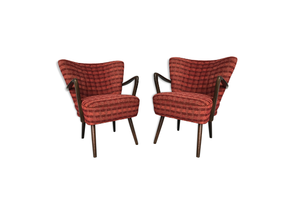 paire de fauteuils cocktail vintage design scandinave bois mat riau rouge bon tat. Black Bedroom Furniture Sets. Home Design Ideas
