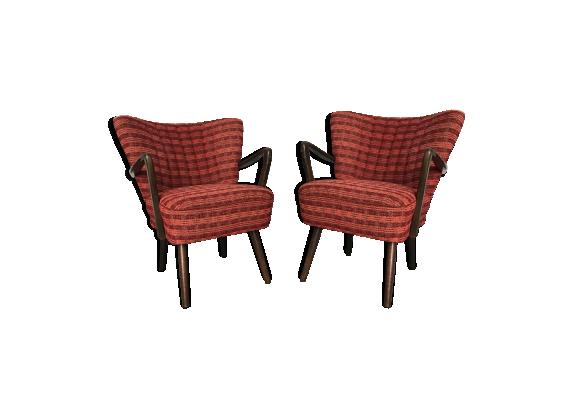 paire de fauteuils cocktail vintage design scandinave bois mat riau rouge bon tat. Black Bedroom Furniture Sets. Home Design Ideas
