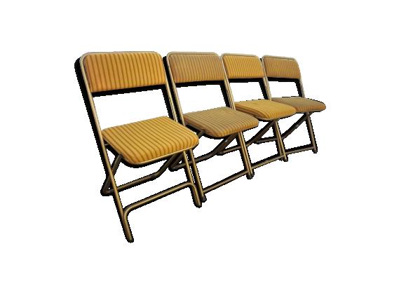 Lot de 4 chaises pliables lafuma de 1960 1970 tissu for Chaises pliables