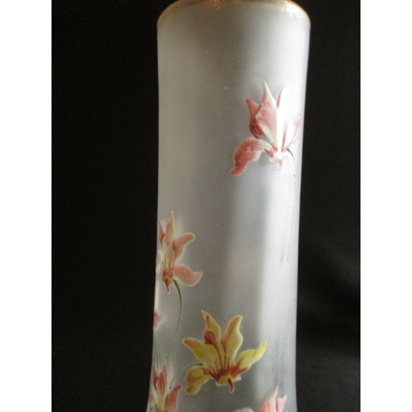 Grand vase rouleau legras verre et cristal marron - Idee deco grand vase transparent ...