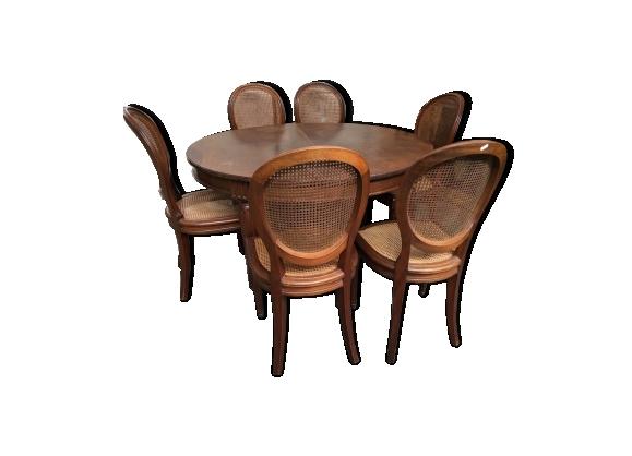 Table et six chaises en acajou de style Louis XVI