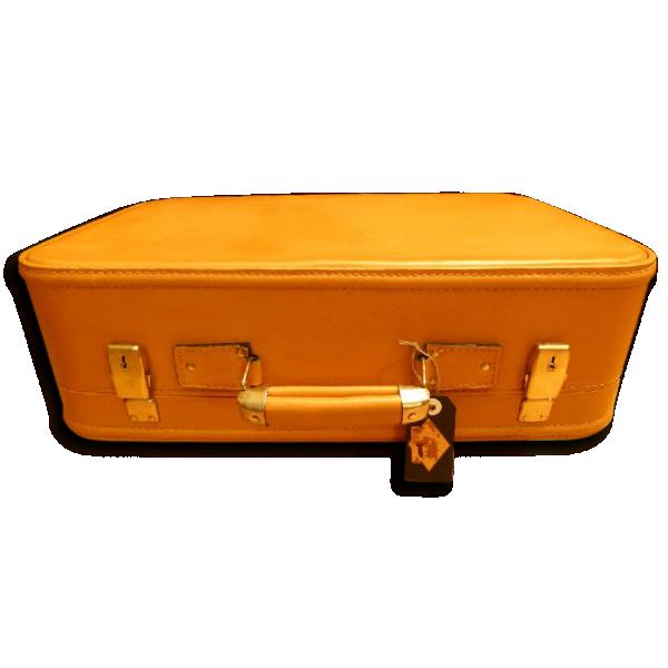 valise vintage colonel moutarde cuir jaune bon tat vintage 49879. Black Bedroom Furniture Sets. Home Design Ideas