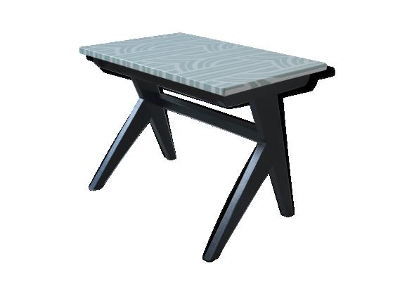 Table basse vintage en bois , pieds compas