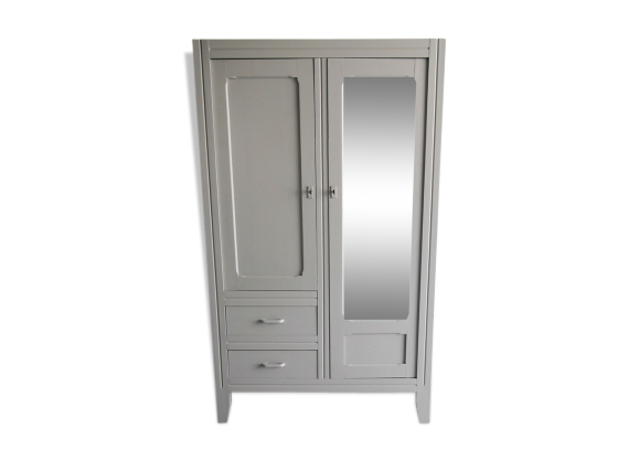 armoire parisienne glace bois mat riau gris bon. Black Bedroom Furniture Sets. Home Design Ideas