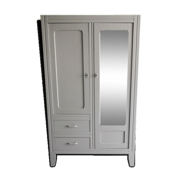 armoire parisienne glace bois mat riau gris bon tat vintage. Black Bedroom Furniture Sets. Home Design Ideas