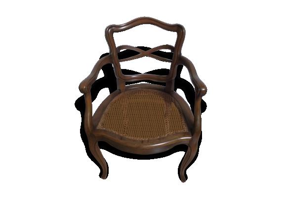 fauteuil cann louis xv bois mat riau marron bon tat classique 133638. Black Bedroom Furniture Sets. Home Design Ideas