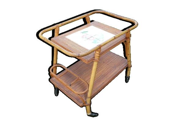 desserte ou bar roulant vintage 1960 70 en bambou rotin et osier bois couleur dans son. Black Bedroom Furniture Sets. Home Design Ideas