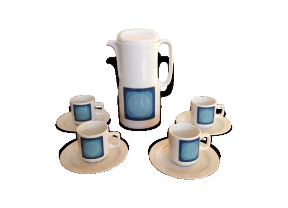 Service théière et 4 tasses et sous tasses porcelaine made en germany années 70