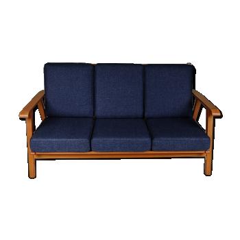 Canapé trois places vintage en bouleau, 1950s