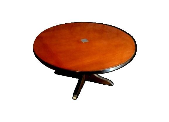 Table basse de style art déco plateau rond cerclé de chrome