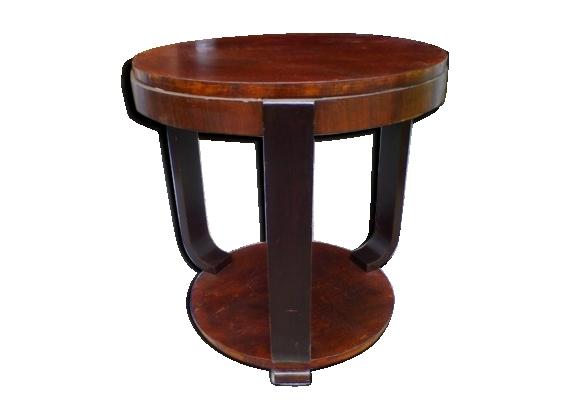 Guéridon table époque art deco 1930 bois et placage