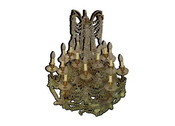 Lustre cristal et bronze doré pampilles fin XIXème