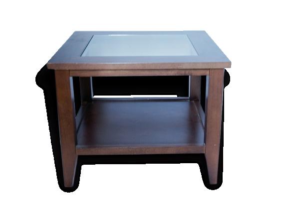 Table basse scandinave bois et verre carrée