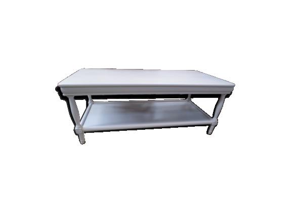 table basse en merisier relook e bois mat riau beige bon tat classique. Black Bedroom Furniture Sets. Home Design Ideas