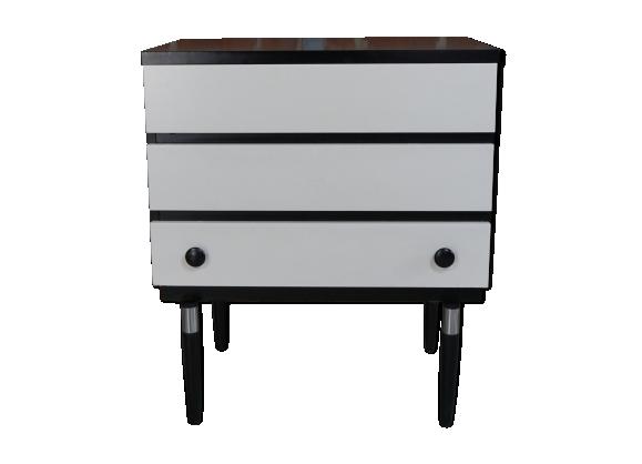 commode vintage design sur pieds suspendus bois mat riau blanc bon tat vintage. Black Bedroom Furniture Sets. Home Design Ideas