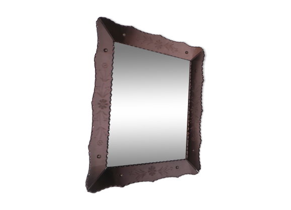 grand miroir ancien biseaut v nitien art d co bicolor 1930 verre et cristal transparent. Black Bedroom Furniture Sets. Home Design Ideas