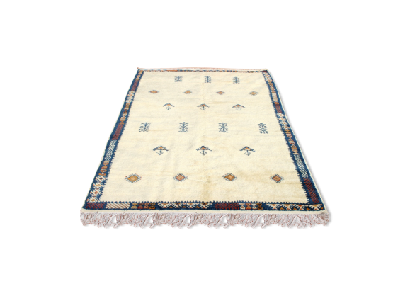 tapis marocain berb re en laine 220x155 cm tissu blanc bon tat thnique. Black Bedroom Furniture Sets. Home Design Ideas