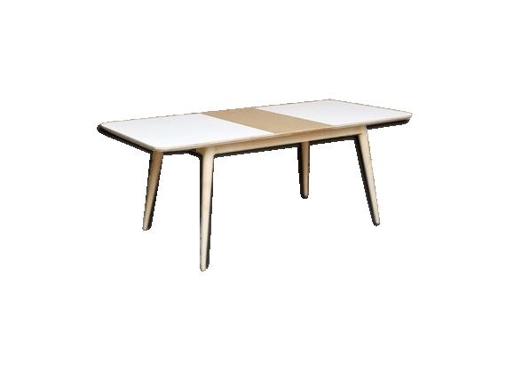 Table à rallonges blanc et bois
