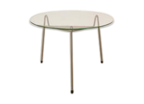 Table basse en verre transparent - Table ronde grise ...