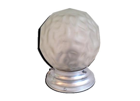Lampe de chevet globe verre d poli 1940 50 verre et for Verre pour lampe de chevet