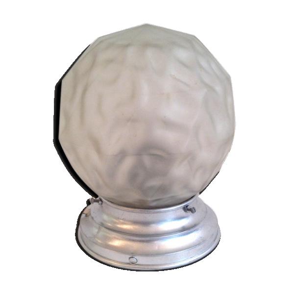 lampe de chevet globe verre d poli 1940 50 verre et cristal blanc bon tat art d co. Black Bedroom Furniture Sets. Home Design Ideas